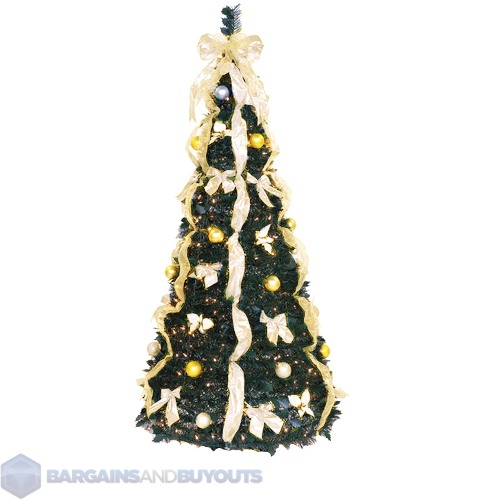 Pull Up Decorated Christmas Tree: 6' Pre-Decorated PullUp Christmas Tree Champagne/Gold