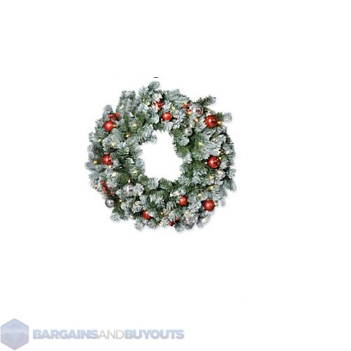 battery operated 24 frosted christmas wreath white led mini lights 389034. Black Bedroom Furniture Sets. Home Design Ideas